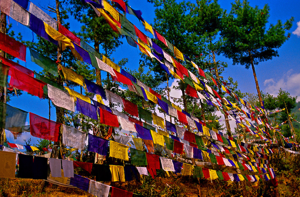 Prayer flags above Thimphu, Bhutan