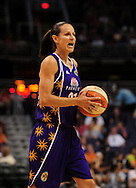 June 4, 2010; Phoenix, AZ, USA; Los Angeles Sparks guard Tisha Penicheiro reacts while handling the ball against the Phoenix Mercury during the first half at US Airways Center.  The Mercury defeated the Sparks 90-89.  Mandatory Credit: Jennifer Stewart-US PRESSWIRE