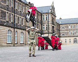 The 1,200 performers that will take part in the 2016 Royal Edinburgh Military Tattoo come together for the first time to rehearse.<br /> <br /> Pictured: Lt. Felix Cairns of the Royal Scots Dragoon Guards with the Red Imps MotorCycle Display Team