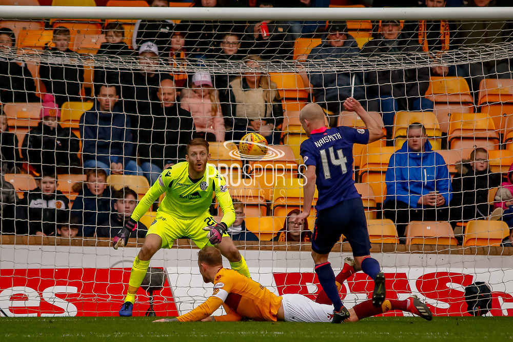GOAL - Steven Naismith of Hearts puts away the rebound and levels the scores  during the Ladbrokes Scottish Premiership match between Motherwell and Heart of Midlothian at Fir Park, Motherwell, Scotland on 17 February 2019.