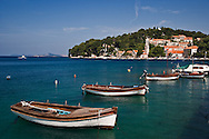 Small boats docked in harbor, Hvar Island, one of the most famous Dalmatian Islands, Croatia