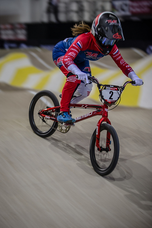 #2 (SMULDERS Merel) NED during practice at the 2019 UCI BMX Supercross World Cup in Manchester, Great Britain