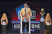 Aug 3, 2019; Canton, OH, USA; Kevin Mawae speaks during the Pro Football Hall of Fame Enshrinement at Tom Benson Hall of Fame Stadium. (Robin Alam/Image of Sport)