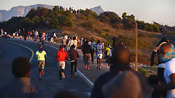 South Africa - Cape Town - 20 May 2020 - Hundreds of joggers in Khayelitsha were left disappointed when law Enforcement officers and police chase them from the corner of Spine Road and Mew Way where they normally garther and exercise.It has became dangerous as some moved to a circle and exercised as groups,not adhering the lockdown rule and Disaster Managenent act by practising social distance.Khayelitsha is leading the Western Cape with the number of Coronavirus cases.Photograph: Phando Jikelo/African News Agency(ANA)