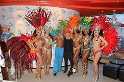 JAMES PELTEKIAN and samba dancers at the OMEGA 100 days to Rio Olympics VIP Dinner at Sushi Samba, Heron Tower, 110 Bishopsgate, City of London on 27th April 2016.