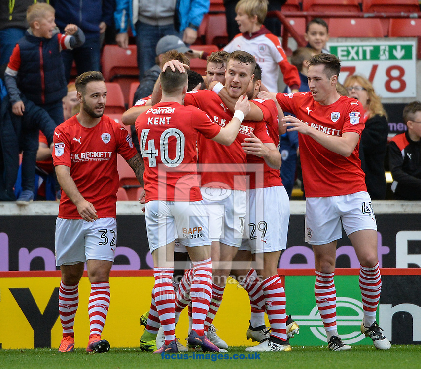 Marley Watkins (c) of Barnsley celebrates scoring to make it 1-0 during the Sky Bet Championship match at Oakwell, Barnsley<br /> Picture by Richard Land/Focus Images Ltd +44 7713 507003<br /> 29/10/2016
