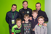 Forest Green Rovers Dayle Grubb(8) with his sponsors during the EFL Sky Bet League 2 match between Forest Green Rovers and Carlisle United at the New Lawn, Forest Green, United Kingdom on 16 March 2019.