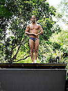 Sinkhole cliff diving competition held in Mexico<br /> <br /> Daredevil athletes have jumped from the edge of a 90ft deep sinkhole in a remote part of Mexico, as part of a cliff diving contest.<br /> Divers in the 'Cliff Diving World Series' performed stunts and reached speeds of 40mph before hitting the dark water of Cenote Ik Kil.<br /> Gary Hunt, from Southampton was the overall winner and managed to pull off a Triple Quad – one of the most difficult dives in the world.<br /> The Red Bull event lasted for two days -- though most of that time was probably taken up trying to get back out after each jump. <br /> Gary scored 373.85 and edged out second-placed Silchenko by a little over 10 points, with 2009 champion Duque taking third place.<br /> <br /> Photo Shows: Orlando Duque of Colombia prepares to dive from the 27.2 metre platform during training in the lead up to round two of the 2010 Red Bull Cliff Diving World Series, Cenote Ik Kil, Yucatan, Mexico on June 05; 2010.<br /> (©Ray Demski/Exclusivepix)