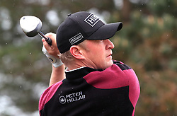 Wales' Jamie Donaldson tees off the 11th during day one of the Betfred British Masters at Hillside Golf Club, Southport.