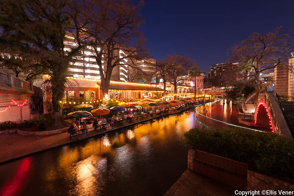 San Antonio Riverwalk at night in winter