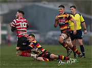 Carmarthen Quins' full back Dale Ford tackles Llandovery's outside half Jack Maynard.<br /> <br /> Photographer: Dan Minto<br /> <br /> Indigo Welsh Premiership Rugby - Round 12 - Llandovery RFC v Carmarthen Quins RFC - Saturday 28th December 2019 - Church Bank, Llandovery, South Wales, UK.<br /> <br /> World Copyright © Dan Minto Photography<br /> <br /> mail@danmintophotography.com <br /> www.danmintophotography.com