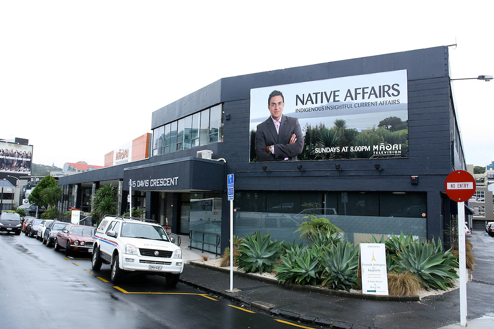 The Maori Television studios in Newmarket, displaying a contentious billboard, Auckland, New Zealand, May 27, 2007. Credit:SNPA / Rob Tucker