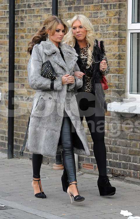 The Only Way Is Essex stars Chloe Sims and Frankie Essex at Joey's new shop in Brentwood, Essex. UK. 23/02/2013 <br />