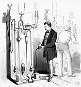Vacuum apparatus used to exhaust Edison incandescent light bulbs at G (centre top). From Scientific American, New York, 1880. Engraving