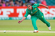 Pakistan womens cricket player Kainat Imtiaz attempts to field off her own bowling during the ICC Women's World Cup match between England and Pakistan at the Fischer County Ground, Grace Road, Leicester, United Kingdom on 27 June 2017. Photo by Simon Davies.