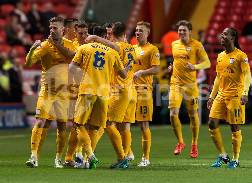 Paul Gallagher celebrates scoring the opening goal with his team mates during the Sky Bet Championship match between Charlton Athletic and Preston North End at The Valley, London, England on 20 October 2015. Photo by Vince  Mignott.