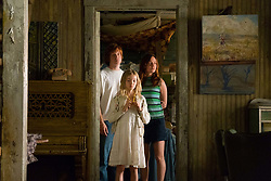 """From L to R: Josh Caras as """"Brian,"""" Shree Grace Crooks as """"Young Maureen,"""" and Brie Larson as """"Jeannette Walls"""" in THE GLASS CASTLE. Photo by Jake Giles Netter."""