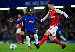 Granit Xhaka of Arsenal asses under pressure from Ngolo Kante of Chelsea - Mandatory by-line: Alex James/JMP - 10/01/2018 - FOOTBALL - Stamford Bridge - London, England - Chelsea v Arsenal - Carabao Cup semi-final first leg