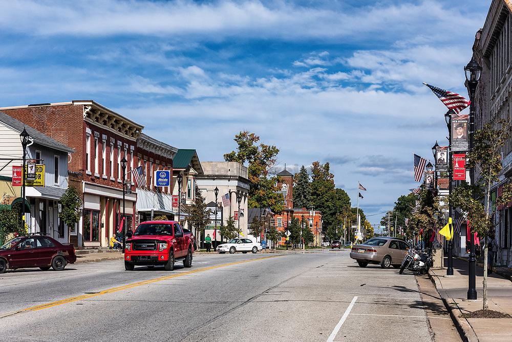 Small town Main Street, Girard, Pennsylvania, USA.