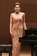 """NEW YORK - JANUARY 19:  Pianist Lola Astanova performs """"A Tribute to Horowitz"""" presented by the American Cancer Society at Carnegie Hall on January 19, 2012 in New York City.  (Photo by Matthew Peyton/Getty Images) *** Local Caption *** Lola Astanova"""