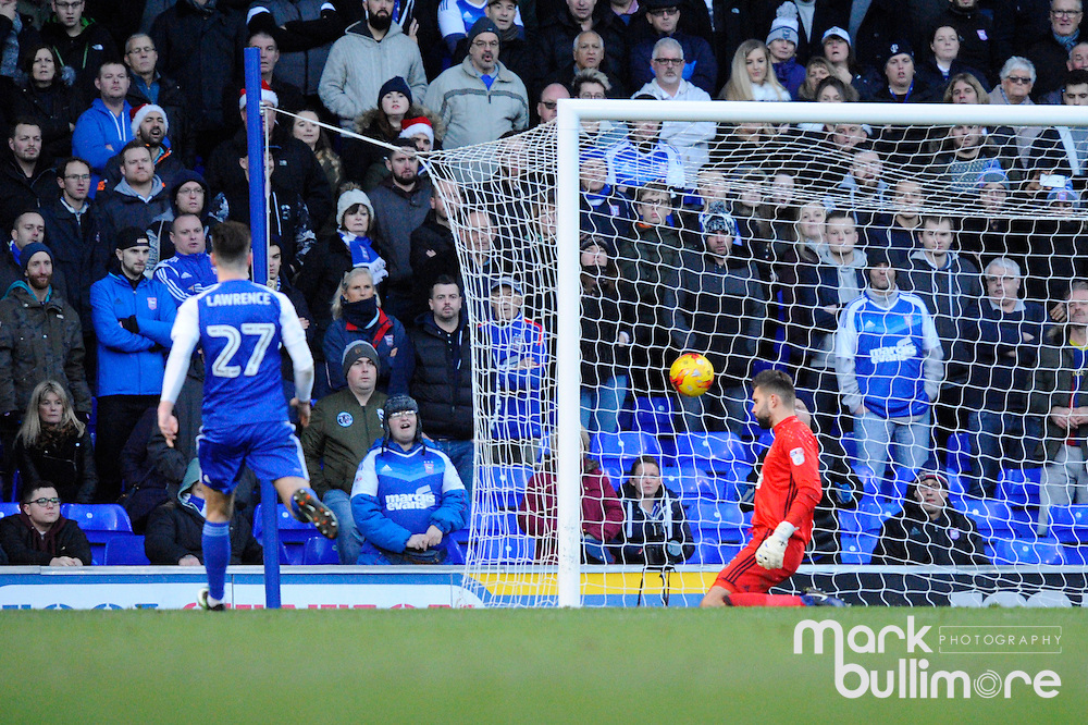 Ipswich, Suffolk. Football action from Ipswich Town v Fulham at Portman Road in the Sky Bet Championship on the 26th December 2016 with a final score of 0-2<br /> <br /> Ipswich Town keeper Bartosz Bialkowski is on his knees after Chris Martin's free-kick puts Fulham 1-0 up at Portman Road<br /> <br /> Picture: MARK BULLIMORE