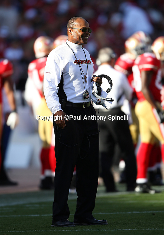 San Francisco 49ers Head Coach Mike Singletary smiles during the NFL football game against the Tennessee Titans, November 8, 2009 in San Francisco, California. The Titans won the game 34-27. (©Paul Anthony Spinelli)