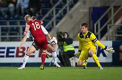 Falkirk's keeper Michael McGovern saves from Nicky Low.<br /> Falkirk 0 v 5 Aberdeen, the third round of the Scottish League Cup.<br /> &copy;Michael Schofield.
