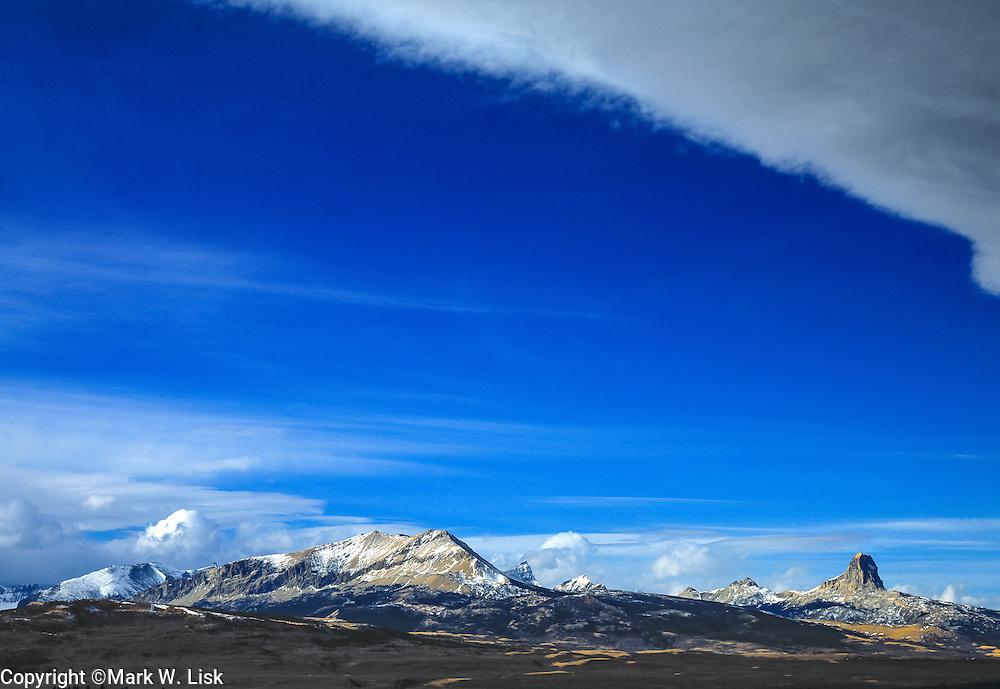 Huge granite peaks on the eastern edge of Glacier National Park, Montana.