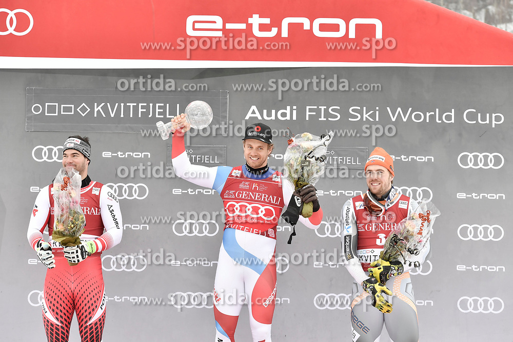 08.03.2020, Kvitfjell, NOR, FIS Weltcup Ski Alpin, SuperG, Herren, Siegerehrung SuperG Weltcup Saison 2019/20, im Bild v.l. Vincent Kriechmayr (AUT, Saison 2019/20 SuperG Weltcup 2. Platz), Mauro Caviezel (SUI, Saison 2019/20 SuperG Weltcup 1. Platz), Aleksander Aamodt Kilde (NOR, Saison 2019/20 SuperG Weltcup 3. Platz) // f.l. SuperG World Cup second placed Vincent Kriechmayr of Austria, SuperG World Cup overall winner Mauro Caviezel of Switzerland, SuperG World Cup third placed Aleksander Aamodt Kilde of Norway for the men's Super G overall ranking of FIS ski alpine world cup 2019/20 season. Kvitfjell, Norway on 2020/03/08. EXPA Pictures © 2020, PhotoCredit: EXPA/ Jonas Ericson