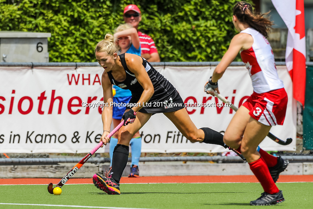 Stacey Michelsen moves past Katherine Gillis. International Womens Hockey. New Zealand Black Sticks v Canada. Whangarei. New Zealand. Sunday 8 February 2015. Copyright Photo: Heath Johnson / www.photosport.co.nz