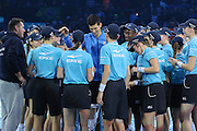 Novak Djokovic with the ball boys and girls during the final of the ATP World Tour Finals between Roger Federer of Switzerland and Novak Djokovic at the O2 Arena, London, United Kingdom on 22 November 2015. Photo by Phil Duncan.