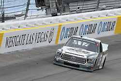 March 1, 2019 - Las Vegas, NV, U.S. - LAS VEGAS, NV - MARCH 01: Austin Hill (16) Hattori Racing Enterprises (HRE) Toyota Tundra drives through turn two during qualifying for NASCAR Gander Outdoors Truck Series The Strat 200 on March 1, 2019, at Las Vegas Motor Speedway in Las Vegas, Nevada. (Photo by Michael Allio/Icon Sportswire) (Credit Image: © Michael Allio/Icon SMI via ZUMA Press)