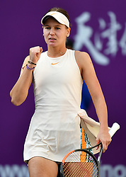 TIANJIN, Oct. 8, 2018  Veronika Kudermetova of Russia celebrates victory after the women's singles first round match against Alison Riske of the United States at the WTA Tianjin Open tennis tournament in Tianjin, north China, Oct. 8, 2018. Veronika Kudermetova won 2-1. (Credit Image: © Li Ran/Xinhua via ZUMA Wire)
