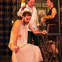 The Inn at Lydda by WOLFSON ;<br /> Director Andy Jordan ;<br /> Samuel Collings (as Jesus) ;<br /> Philip Cumbus (as Caligula) ;<br /> Sam Wanamaker Playhouse, Globe Theatre ;<br /> 6 September 2016 ;<br /> Credit: Pete Jones/ArenaPal ;<br /> www.arenapal.com