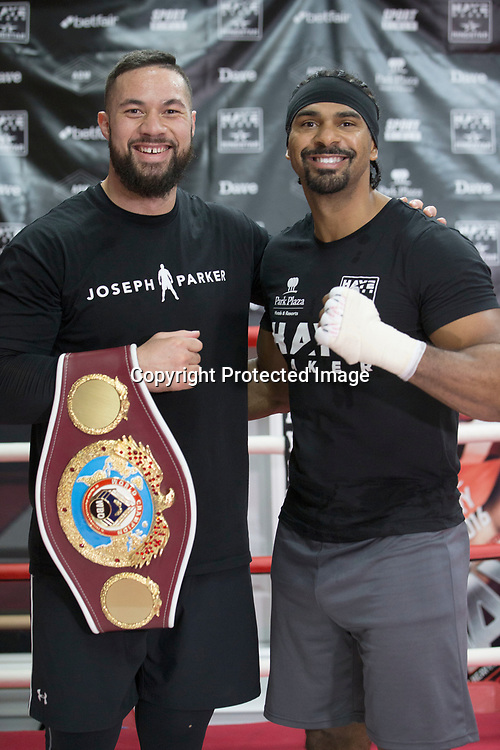 Joseph Parker wtih David Haye during a training session in London ahead of his WBO heavyweight boxing title defence. London, UK. 11 September 2017. Copyright Image: Matt Impey / www.photosport.nz