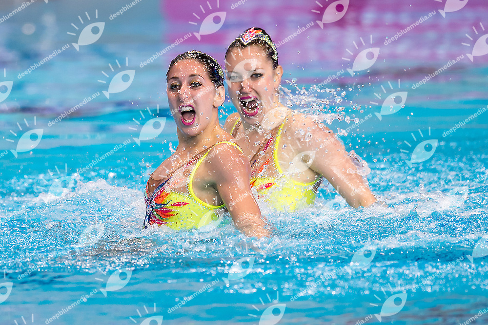 AUGE Laura  FRA CHRETIEN Margaux  FRA<br /> London, Queen Elizabeth II Olympic Park Pool <br /> LEN 2016 European Aquatics Elite Championships <br /> Synchronised Swimming Synchro Duet Tech<br /> Day 06 13-05-2016<br /> Photo Giorgio Scala/Deepbluemedia/Insidefoto