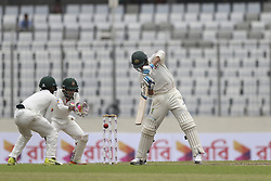 August 28, 2017 - Mirpur, Bangladesh - Australia's Josh Hazlewood plays a shot  during day two of the First Test match between Bangladesh and Australia at Shere Bangla National Stadium on August 28, 2017 in Mirpur, Bangladesh. (Credit Image: © Ahmed Salahuddin/NurPhoto via ZUMA Press)