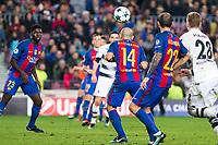 FC Barcelona's Javier Mascherano , Aleix Vidal VfL Borussia Monchengladbach's Andre Hahn during Champions League match between Futbol Club Barcelona and VfL Borussia Mönchengladbach  at Camp Nou Stadium in Barcelona , Spain. December 06, 2016. (ALTERPHOTOS/Rodrigo Jimenez)