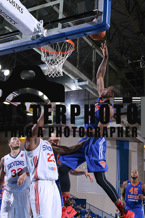 Westchester Knicks Forward Thanasis Antetokounmpo (43) drives towards the basket as Delaware 87ers Forward Victor Rudd (23) defends in the second half of a NBA D-league regular season basketball game between the Delaware 87ers and the Westchester Knicks (New York Knicks) Wednesday, Feb. 17, 2015 at The Bob Carpenter Sports Convocation Center in Newark, DEL