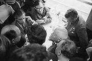 1960. Impromptu  press conference in dining car of french train on the way to Verdun.<br /> I was the only photographer allowed<br /> behind Khrushchev during the press conference.<br /> AP put out a picture of this conference where I can be seen standing behind Kruschev rewinding the film in my camera.<br /> <br /> 1960. Conf&eacute;rence de presse impromptu dans le wagon du train fran&ccedil;ais en route  pour Verdun .<br /> Je suis le seul photographe autoris&eacute;<br /> derri&egrave;re Khrouchtchev lors de la conf&eacute;rence de presse .<br /> Associated Press a pris une photo de cette conf&eacute;rence o&ugrave; je peux &ecirc;tre vu debout derri&egrave;re Kruschev  en train de rembobiner le film dans mon appareil photo .
