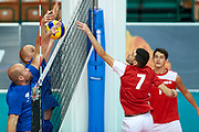 Katowice, Poland - 2017 September 02: (R) Athlete Savalan Shahbazov from SO Azerbaijan attacks while SO Azerbaijan versus SO Finland match during European Unified Volleyball Tournament 2017 at Spodek Hall on September 02, 2017 in Katowice, Poland.<br /> <br /> Adam Nurkiewicz declares that he has no rights to the image of people at the photographs of his authorship.<br /> <br /> Picture also available in RAW (NEF) or TIFF format on special request.<br /> <br /> Any editorial, commercial or promotional use requires written permission from the author of image.<br /> <br /> Image can be used in the press when the method of use and the signature does not hurt people on the picture.<br /> <br /> Mandatory credit:<br /> Photo by &copy; Adam Nurkiewicz / Mediasport