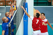 Katowice, Poland - 2017 September 02: (R) Athlete Savalan Shahbazov from SO Azerbaijan attacks while SO Azerbaijan versus SO Finland match during European Unified Volleyball Tournament 2017 at Spodek Hall on September 02, 2017 in Katowice, Poland.<br /> <br /> Adam Nurkiewicz declares that he has no rights to the image of people at the photographs of his authorship.<br /> <br /> Picture also available in RAW (NEF) or TIFF format on special request.<br /> <br /> Any editorial, commercial or promotional use requires written permission from the author of image.<br /> <br /> Image can be used in the press when the method of use and the signature does not hurt people on the picture.<br /> <br /> Mandatory credit:<br /> Photo by © Adam Nurkiewicz / Mediasport