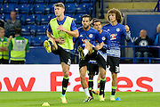 Chelsea defender Gary Cahill (24) with Chelsea midfielder Cesc Fabregas (4) and Chelsea defender David Luiz (30)  during the EFL Cup match between Leicester City and Chelsea at the King Power Stadium, Leicester, England on 20 September 2016. Photo by Dennis Goodwin.