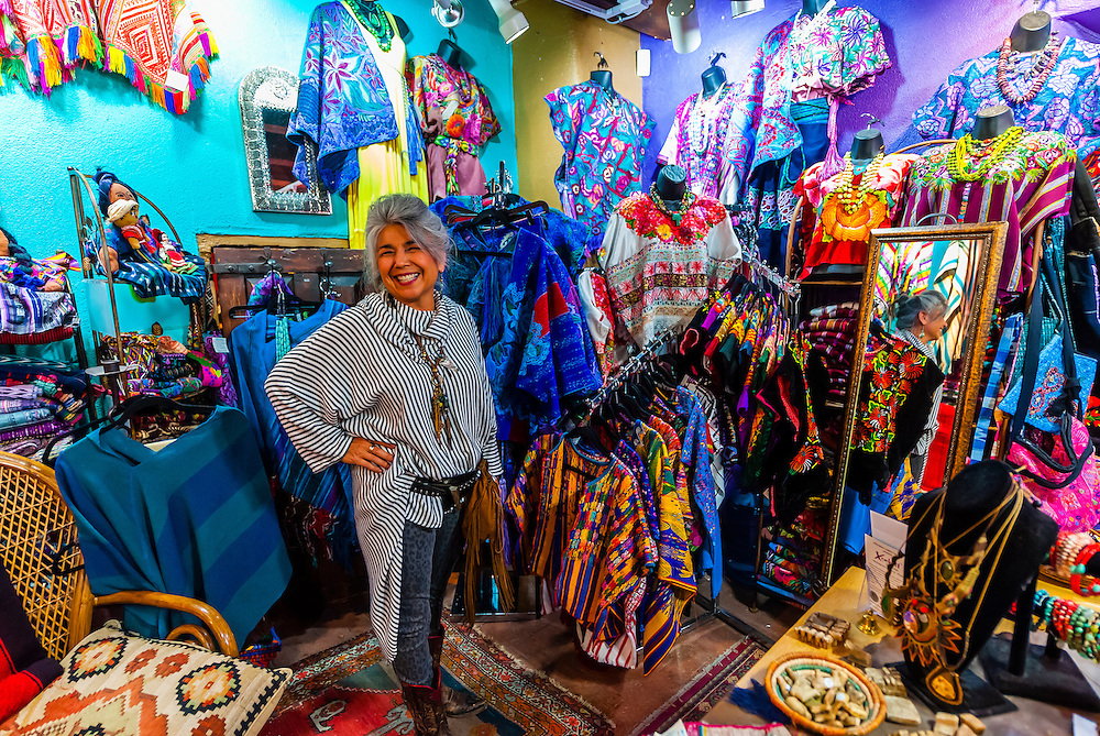 Sally Moon, owner of the Wild Moon Boutique, Old Town, Albuquerque, New Mexico USA.