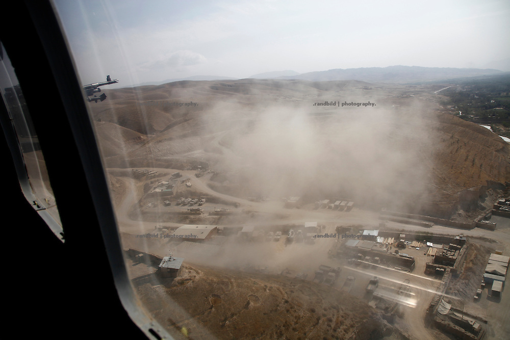 Aerial views before touch down on german OP North, Northern Afghanistan.