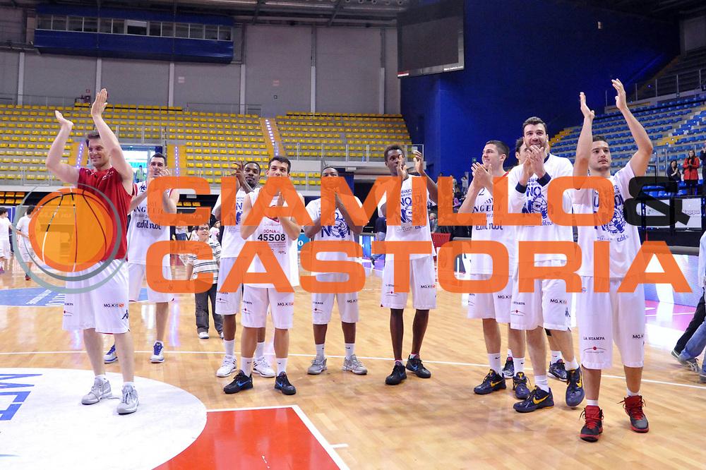 DESCRIZIONE : Biella Lega A 2011-12 Angelico Biella Novipiu Casale Monferrato<br /> GIOCATORE : Team<br /> CATEGORIA : Esultanza<br /> SQUADRA : Angelico Biella<br /> EVENTO : Campionato Lega A 2011-2012<br /> GARA : Angelico Biella Novipiu Casale Monferrato<br /> DATA : 21/04/2012<br /> SPORT : Pallacanestro<br /> AUTORE : Agenzia Ciamillo-Castoria/S.Ceretti<br /> Galleria : Lega Basket A 2011-2012<br /> Fotonotizia : Biella Lega A 2011-12 Angelico Biella Novipiu Casale Monferrato<br /> Predefinita :