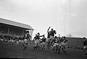 Rugby International, Ireland v Wales, Lansdowne Road, Dublin.  W.J. McBride, Ireland, leaps highest in the lineout near the Wales line.<br /> 17.11.1962