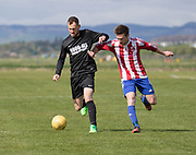 DC Athletic (red and white) v Hilltown Hotspurs (black) in the Shaun Kelly Cup semi final, Dundee Saturday Morning Football at University Grounds, Riverside, Dundee, Photo: David Young<br /> <br />  - © David Young - www.davidyoungphoto.co.uk - email: davidyoungphoto@gmail.com