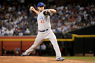 Aug 11, 2017; Phoenix, AZ, USA; Chicago Cubs starting pitcher John Lackey (41) delivers a pitch in the first inning of the MLB game against the Arizona Diamondbacks at Chase Field. Mandatory Credit: Jennifer Stewart-USA TODAY Sports