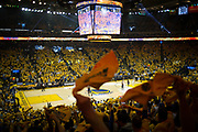 Golden State Warriors fans wave their rally towels during Game 2 of the Western Conference Semifinals against the Utah Jazz at Oracle Arena in Oakland, Calif., on May 4, 2017. (Stan Olszewski/Special to S.F. Examiner)